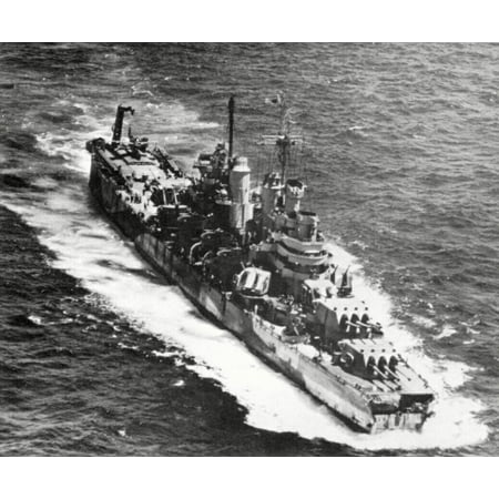 LAMINATED POSTER The U.S. Navy heavy cruiser USS Pittsburgh (CA-72) en route to Guam for temporary repairs, shortly a Poster Print 24 x 36 - Ship To Guam