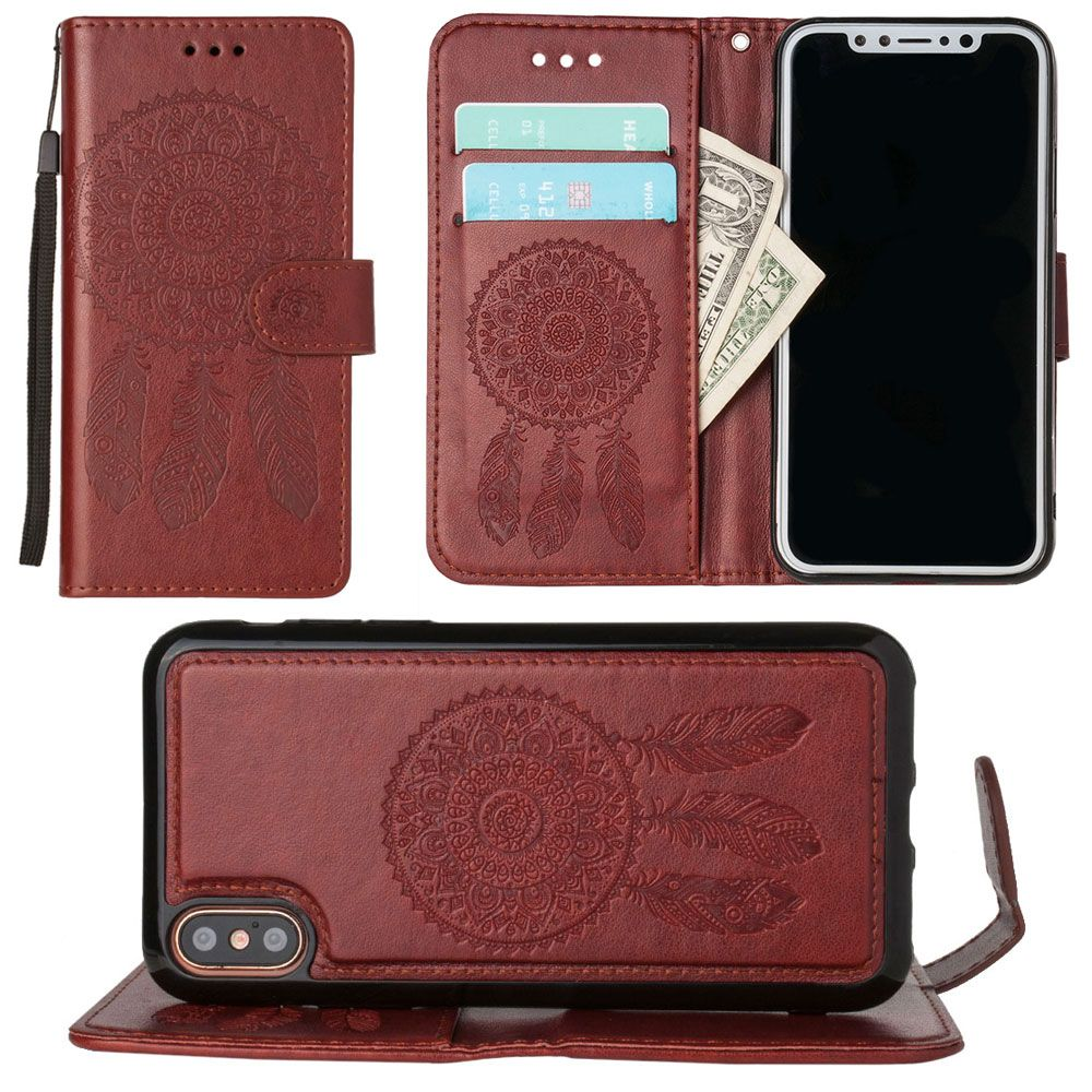 Apple iPhone X Wallet Case, Slim PU Leather Embossed Design with Matching Detachable Magnetic Cover Wristlet for Women by Cellular Outfitter [Dreamcatcher - Purple]