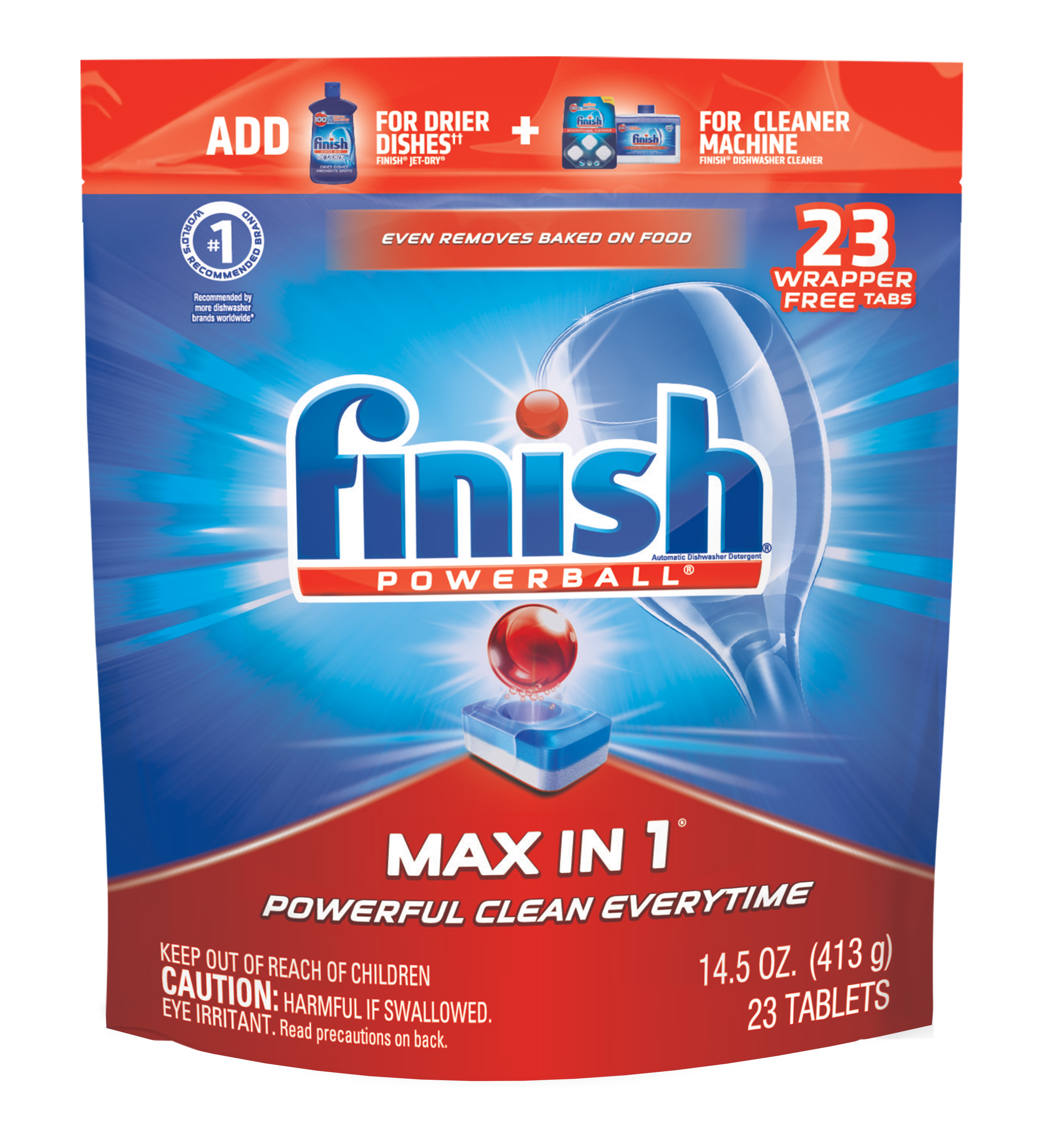 Finish Max in 1 Powerball, 23ct, Wrapper Free Dishwasher Detergent Tablets
