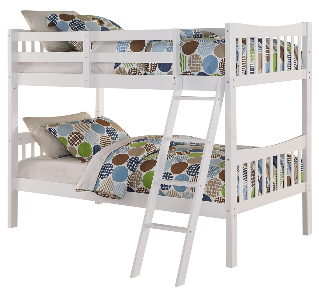 Angel Line Freemont Twin Over Twin Convertible Wood Bunk Bed, White by Supplier Generic