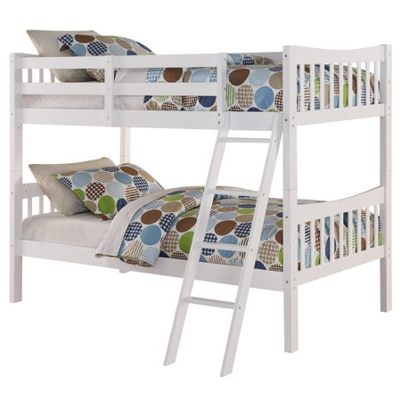 Angel Freemont Twin Over Twin Convertible Wood Bunk Bed White Image