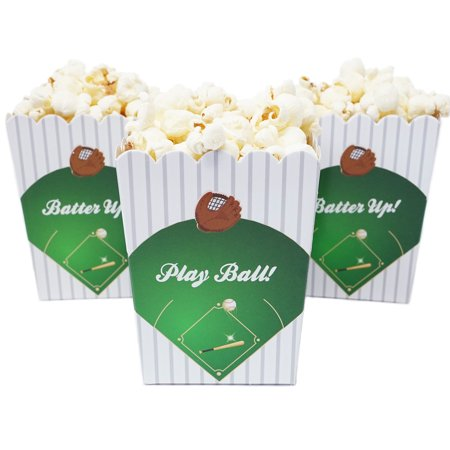 Baseball Themed Mini Popcorn Favor Boxes for Birthdays, Sport Events, and Customized Parties - 20 Count - Space Themed Birthday Party