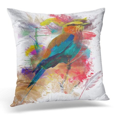 ARHOME Nature Colorful Feather Abstract Bird Colorfull Paint Animal Lilac Pillow Case Cushion Cover 20x20 Inches](Painted Feather)