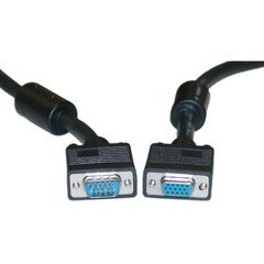 SVGA Extension Cable with Ferrites, Black, HD15 Male to HD15 Female, Coaxial Construction, Double Shielded, 75 foot