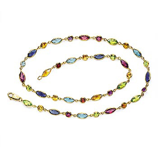 14k Solid Gold Multi Stone By The Yard Necklace (18.25.cts.tw)