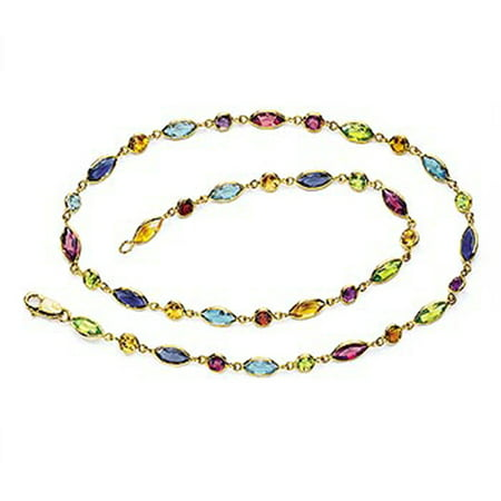 Brown Multi Stone Necklace - 14k Solid Gold Multi Stone By The Yard Necklace (18.25.cts.tw)