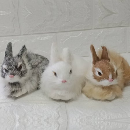 White Fur Plush Rabbits Model Lifelike Animal Furry Easter Bunny Mini Realistic Cute Home Decor Kids Children Christmas Birthday cute Gift - Plush Easter Bunny