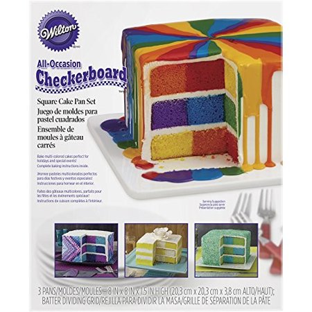 Wilton Square Rainbow Checkerboard Cake Pan, 4 Piece Set