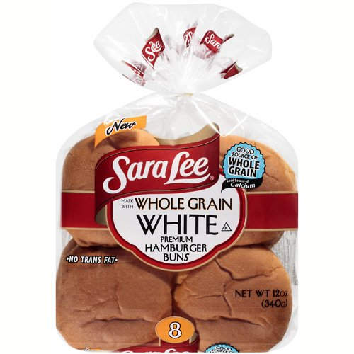 Sara Lee Whole Grain White Hamburger Buns, 12 oz