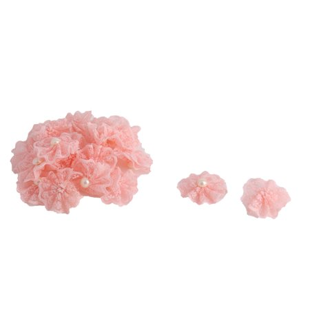 Floral Faux Pearl (Home Party Decor Lace Faux Pearl Inlaid Handcraft DIY Flowers Light Pink 20 Pcs )
