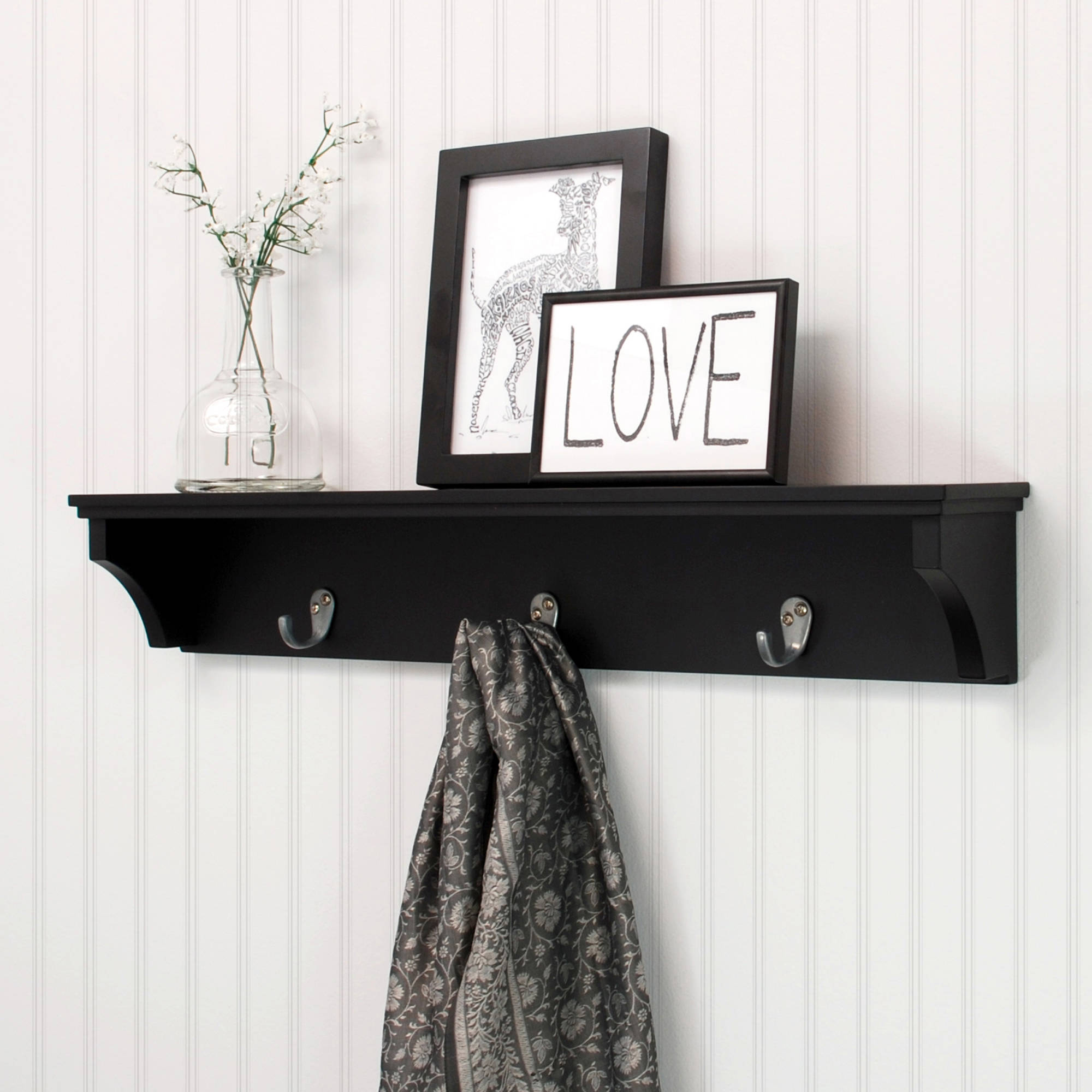 "Kiera Grace Finley 24"" Wall Shelf with 3 Metal Hooks, Black"