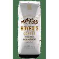 Boyer's Coffee Decaf Hazelnut Flavored Coffee, Whole Bean, 12oz