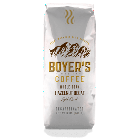 Boyer's Coffee Decaf Hazelnut Flavored Coffee, Whole Bean, 12oz (Decaf Whole Bean)