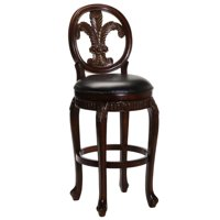 Fleur De Lis Triple Leaf Counter Stool with Leather Seat, Distressed Cherry Finish with Cooper Highlights