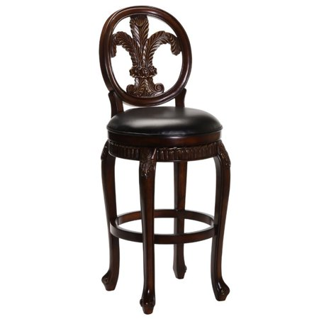Fleur De Lis Triple Leaf Counter Stool with Leather Seat, Distressed Cherry Finish with Cooper Highlights ()
