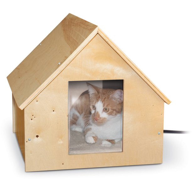 K H Birchwood Outdoor Heated Cat House Wooden Walmart Com Walmart Com