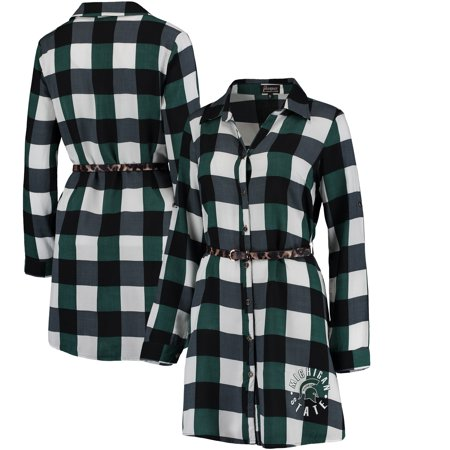 Michigan State Spartans Women's Leopard Belted Plaid Tunic Shirt Dress - Green - Spartan Tunic