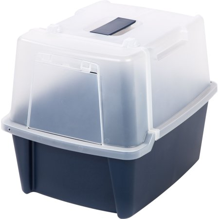 Iris Split-Hood Cat Litter Box, Large, Blue