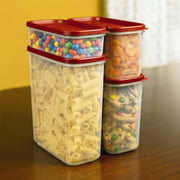 Rubbermaid Modular Food Storage Container Set, Clear Plastic, Red Lid, 8-Piece Set