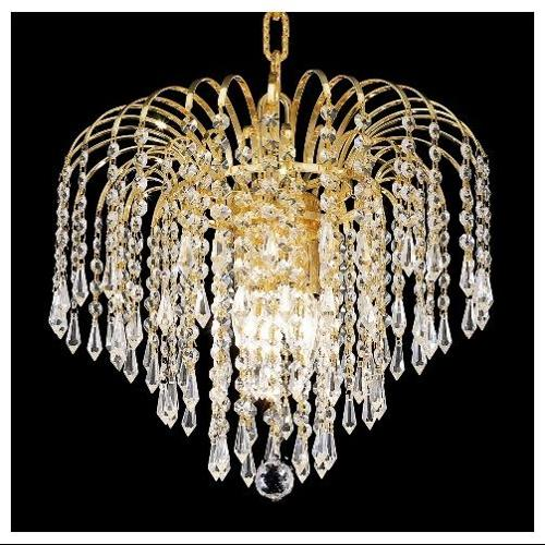 Falls Clear Crystal Chandelier w 4 Lights in Gold (Royal Cut)