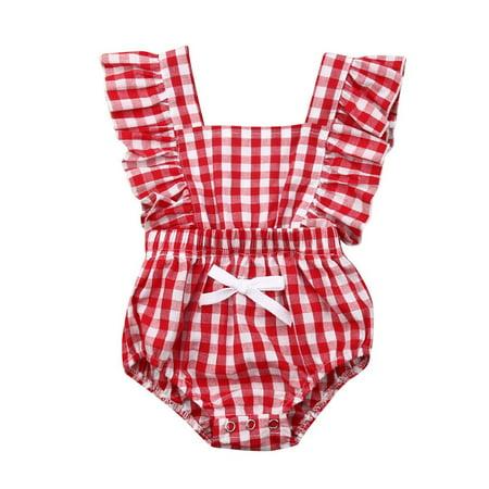 e42d552cf Summer Newborn Kids Baby Girl Romper Plaid Bodysuits Cotton Flutter Sleeve  One-Piece Romper Outfits Clothes 0-24 M - Walmart.com