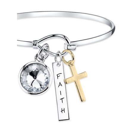 """12mm Clear Crystal Silver-Tone Two-Tone """"Faith"""" and Gold Cross Bangle Bracelet, 8"""""""