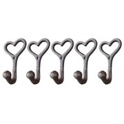 Zimtown 5 Pcs Cast Iron Hooks Love Style Wall-Mount Coat Hat Hook Hall Tree Decor