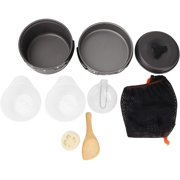 Camping Cookware Set, Portable Hiking Cooking Kit with Non Stick Lightweight Pot Pan Bowl Spoons with Backpacking for Picnic Outdoor