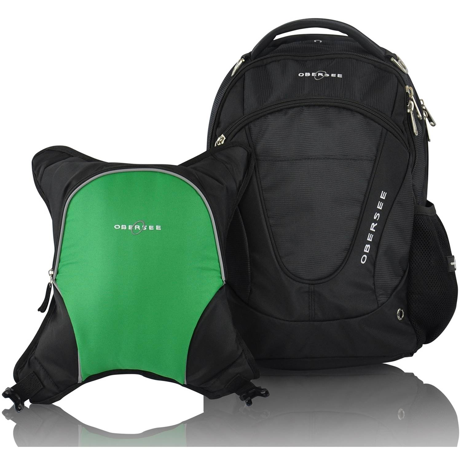Obersee Oslo Diaper Bag Backpack and Cooler, Black Green by Obersee