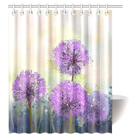 Mypop Beautiful Purple Flowers Shower Curtain Oil Painting Onion Flower Bathroom Set