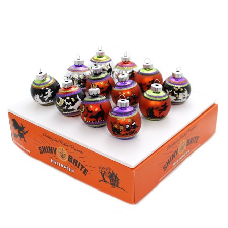 Shiny Brite SIGNATURE FLOCKED OMBRE ROUNDS Glass Halloween Ornament 4026970 (Shiny Brite Halloween)