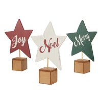 "Holiday Time Wooden Christmas Star Home Decor, 12.2"", Set of 3"