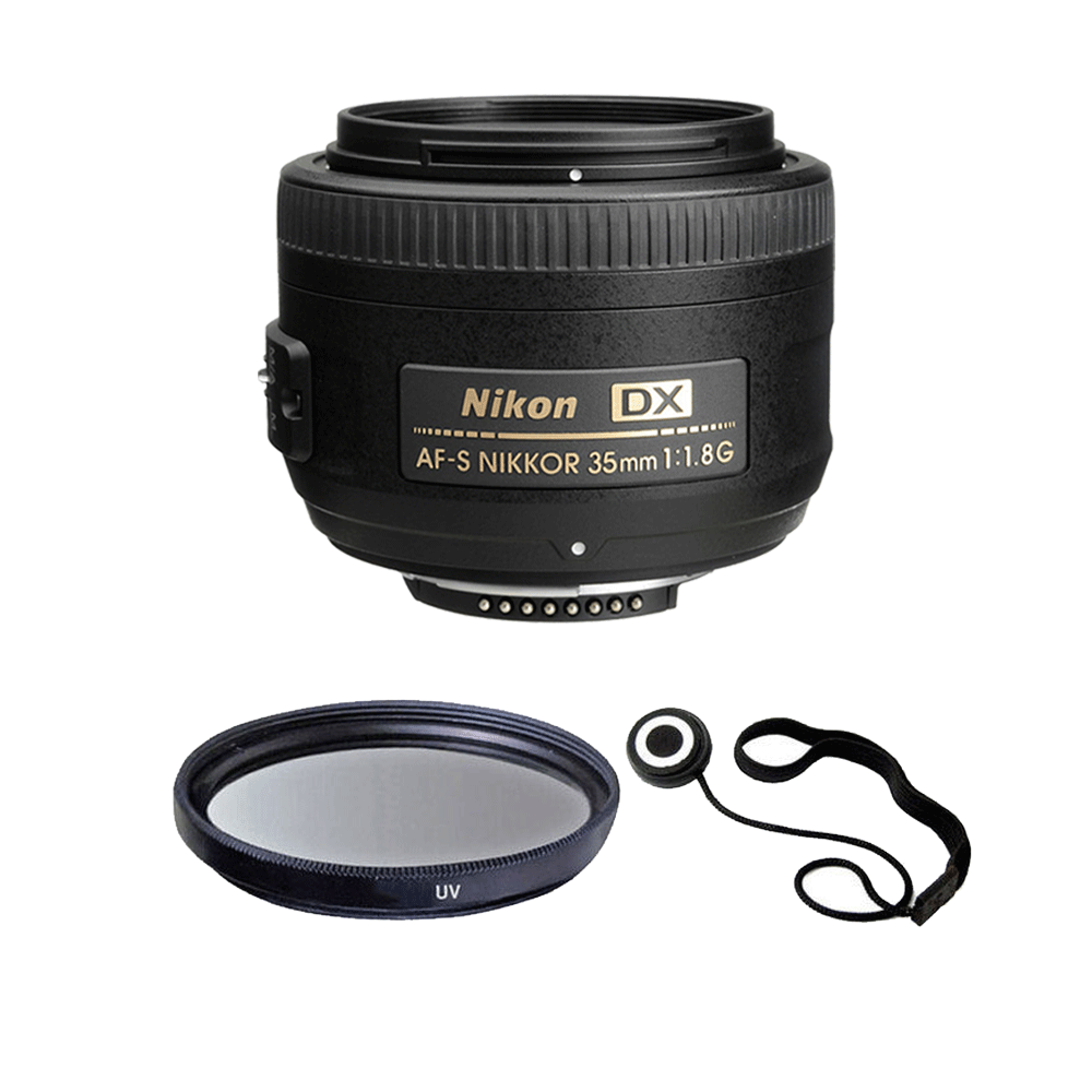 Nikon AF-S DX NIKKOR 35mm f/1.8G Lens with 52mm UV and Accessory Kit