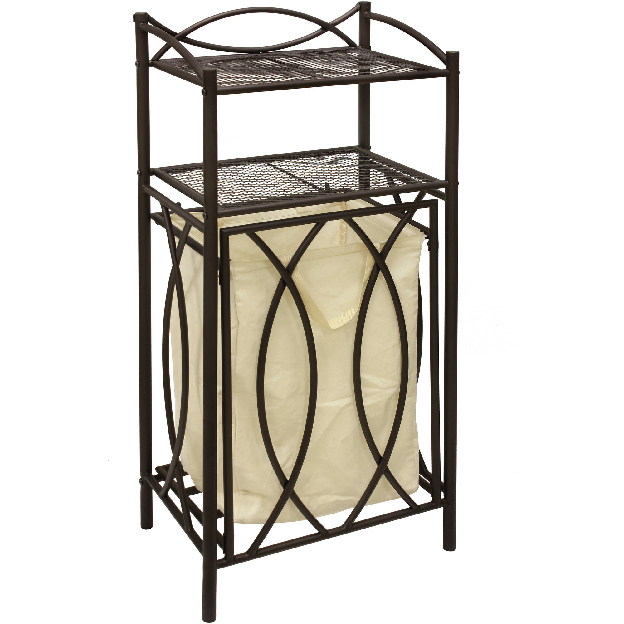 Chapter Pull Out Laundry Hamper and Shelf, Bronze Finish