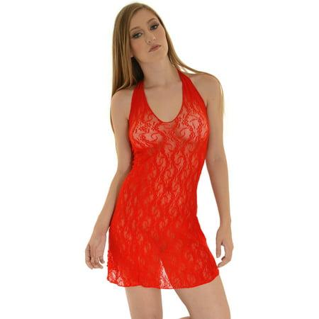 a6c8c7de357 SummitFashions - Plus Size SeXy Lace Halter Chemise V neck Short Mini Dress  Queen Color  Red - Walmart.com