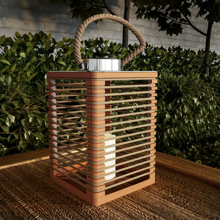 Image of Solar Powered Lantern with LED Candle-Outdoor/Indoor Flickering Flameless Candle Lantern Decorative Light with Rope Accents by Pure Garden (Natural)