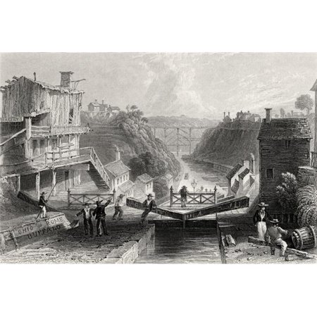 Lockport Erie Canal New York USA From A 19th Century Print Engraved by W Tombleson After W. H. Bartlett Print, 17 x 11 - image 1 of 1
