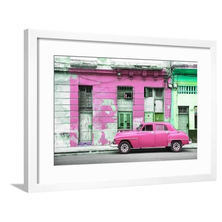 Cuba Fuerte Collection - Pink Vintage American Car in Havana Framed Print Wall Art By Philippe (Havana Brown Pictures)