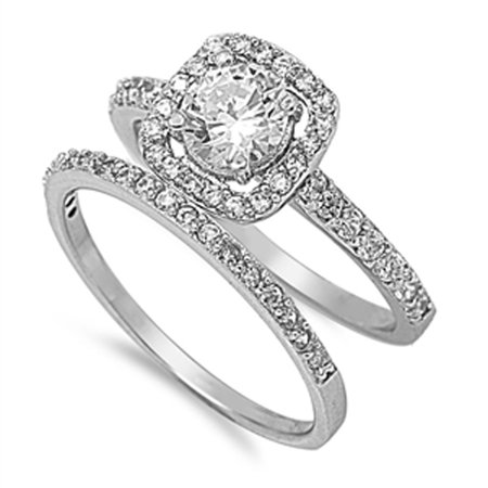 Women's Halo White CZ Wedding Ring ( Sizes 5 6 7 8 9 10 ) Set New .925 Sterling Silver Band Rings (Size 5) (Halo Wedding Bands For Women)