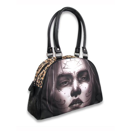 Liquorbrand Cara Tattoo Day of the Dead Sugar Skull Woman Shoulder Bag Purse (Day Of The Dead Purse)