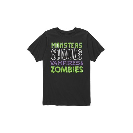Halloween Song List For Party (Halloween Monsters Stacked List - Toddler Short Sleeve)
