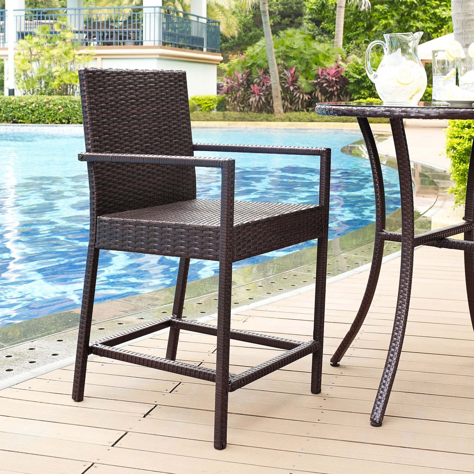 Crosley Palm Harbor Outdoor Wicker Bistro Stool, Set of 2