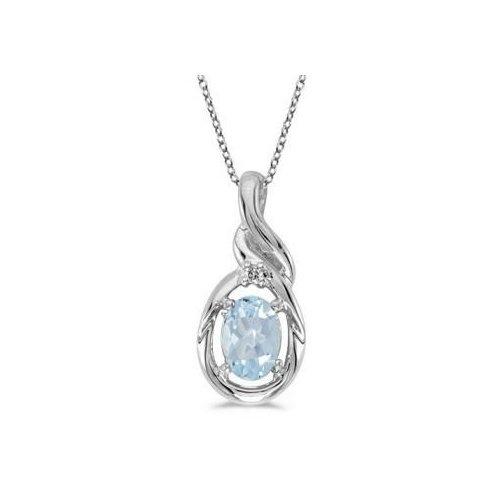 Seven Seas Jewelers Oval Aquamarine & Diamond Pendant Necklace 14k White Gold (0.40ct) by Brand New