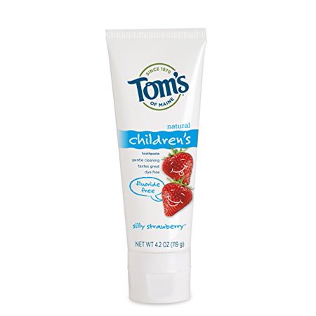 4 Pack - Tom's Silly Strawberry Fluoride Free Kids Toothpaste - 4.2oz Each - Kids Silly Strawberry