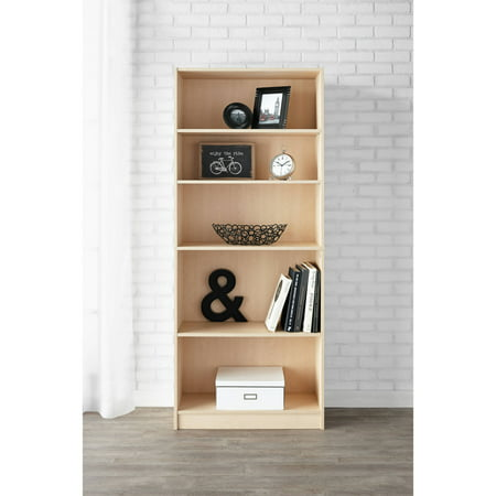 "Mainstays 71"" 5-Shelf Standard Bookcase, Natural"