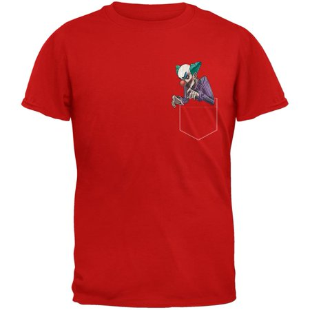 Pocket Halloween Horror Scary Clown Red Adult T-Shirt (Scary Sounds Of Halloween Part 1)