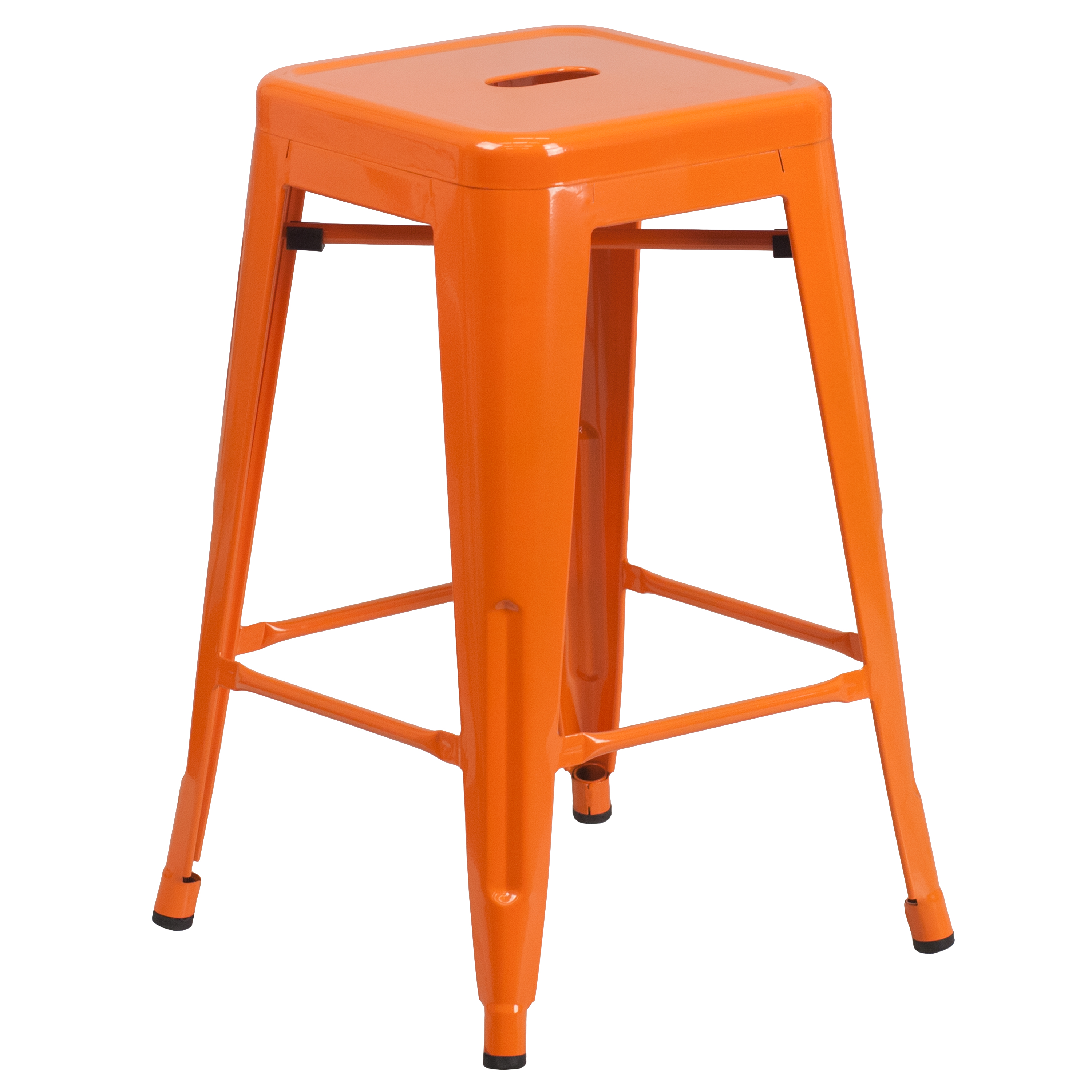 """Flash Furniture 24"""" High Backless Metal Indoor-Outdoor Counter Height Stool with Square Seat, Multiple Colors"""
