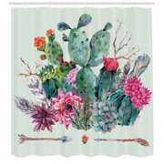 Cactus Shower Curtain, Spring Garden with Boho Style Bouquet of Thorny Plants Blossoms Arrows Feathers, Fabric Bathroom Set with Hooks, Multicolor, by Ambesonne