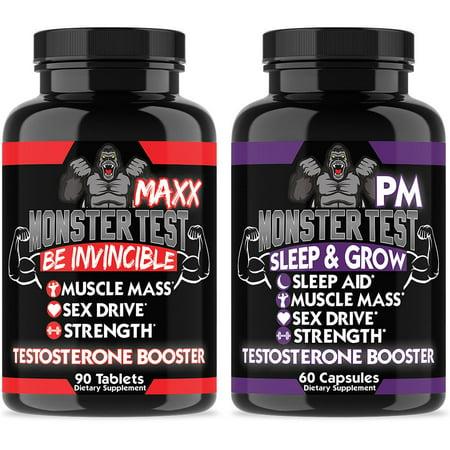 Monster Test Maxx Testosterone Booster High Strength Formula & Monster PM Sleep Aid for Men (Monster Test Pm Testosterone Booster And Sleep Support)