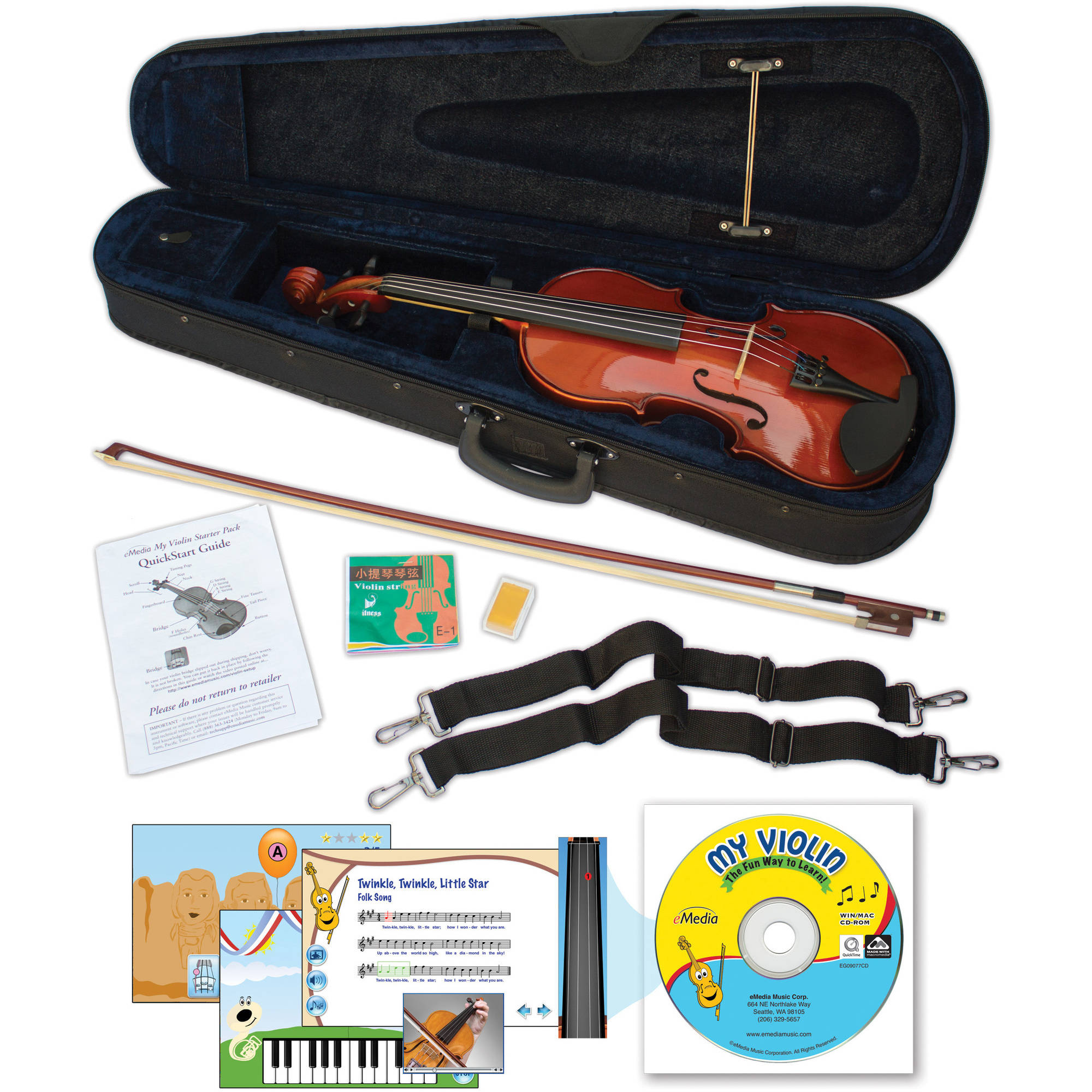 eMedia My Violin Starter Pack for Kids (3 4-Size) by Emedia Music